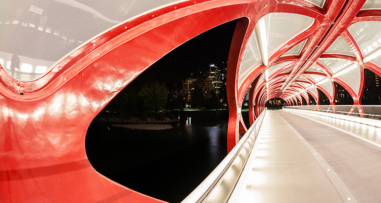 Image of a pedestrian bridge walkway, protected by a futuristic-looking canopy.