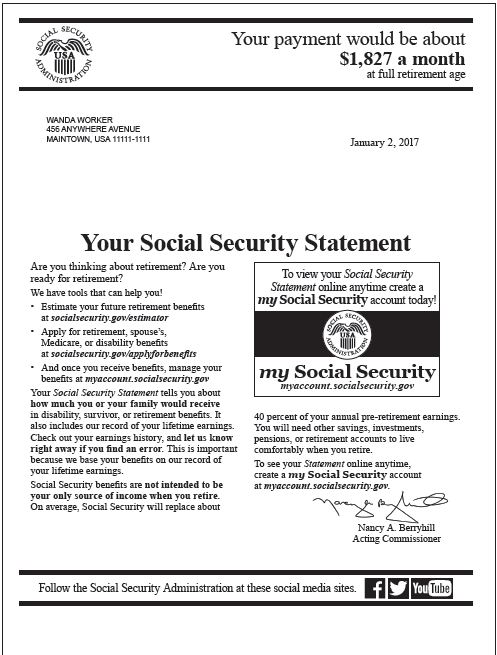 Social Securitys Annual Benefits Statement Mailing